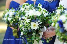 \Soft textured English garden bouquet of Dahlias, Blue Thistle, Scabiose pods, White roses, anemonies