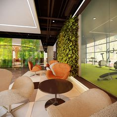 Waiting area by the gym. Gym Interior, Office Interior Design, Interior Design Process, Waiting Area, Workplace Design, Office Looks, Office Furniture, Layout, Indoor