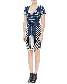 Lorraine Short-Sleeve Patterned Dress by Diane von Furstenberg at Neiman Marcus.