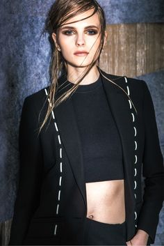 Versace's silk cady jacket with leather stitching, silk cady shorts and silk Lycra top. [Photo by Eli Schmidt]
