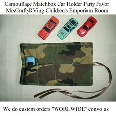 Camouflage MatchBox Car Roll Party Favor by MrsCraftyRVing on Etsy, $4.00