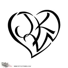J+K+W Heart. Love. This tattoo symbolizes the love of Lorraine for her daughter, whose initials shape this heart.. This and more heartigram tattoos at http://www.tattootribes.com/index.php?newlang=English&idinfo=7640