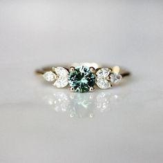 Teal Sapphire Engagement Ring Leaf Engagement Ring Montana #weddingrings