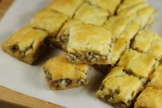The Kitchen is My Playground: 3-Ingredient Crescent Sausage Bites. Someone said that they would reduce the cream cheese. Lots of other ideas in the comments.   ...MKL...