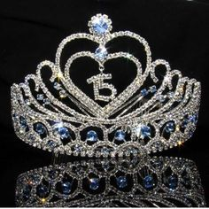 Heart Quinceanera Tiara with Baby Blue Stones - – ABC Fashion Cinderella Quinceanera Themes, Quinceanera Tiaras, Quinceanera Planning, Pretty Quinceanera Dresses, Quinceanera Party, Sweet 15 Quinceanera, Quince Decorations, Quinceanera Decorations, Marie