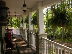 front deck posts with stone Eclectic Home porch columns Design Ideas Pictures Remodel and Front Porch Columns, Front Porch Design, Front Deck, Front Porches, Front Porch With Columns, Front Porch Posts, Porch Overhang, Porch Railings, Porch Designs