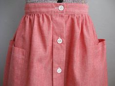1970s Skirt Red Cotton / Large Pockets Skirt / by soubrettevintage, $28.00