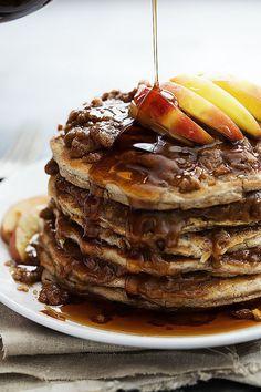 Apple Cinnamon Streusel Pancakes - Perfectly fluffy apple pancakes with cinnamon streusel topping