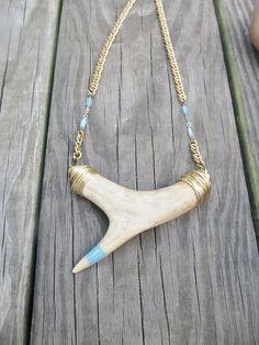 Antler Bib Necklace Wire Wrap Jewelry Antler by daniellerosebean