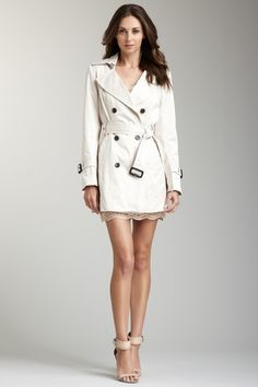 I love a stylishly short and cinched trench over short cute mini dresses. Sexy stilettos are a must. Overall look is so feminine and classy, yet still very sexy.