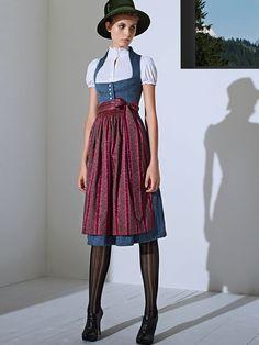 """Klassisches Dirndl """"Marei"""" in Blau von GOTTSEIDANK"""