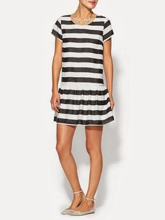 Trina Turk Mason Striped Jersey Drop Waist Dress