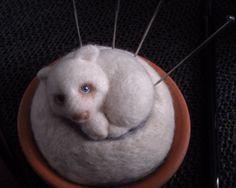 Needle felt Wary Bear pin cushion