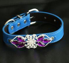 Purple Rhinestone Dog collar, Dog collar, birthday gift,,Beaded collar, Cat collar