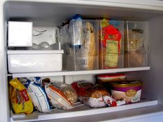 #SpringDream Day 20 - Spring Organization - While you're cleaning out your refrigerator you might as well organize it.  I don't know about you, but it seems like every time I open our freezer something falls out.  There's just never enough space.  Solve your freezer storage issue with clear containers.