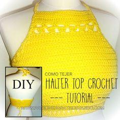 Cómo se teje un halter top crochet Tops Tejidos A Crochet, Top Crop Tejido En Crochet, Crochet Bra, Crochet Halter Tops, Free Crochet, Crochet Hats, Crochet Dresses, Diy Halter Top, Knitting Patterns