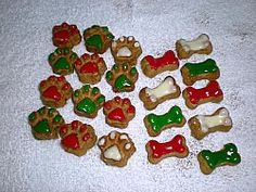 Homemade Christmas dog biscuits decorated with Fido's Royal Icing for Dogs.