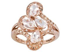 Cor-de-rosa Morganite 1.40ctw Pear Shape With .22ctw Round Diamond 10k Rose Gold Ring