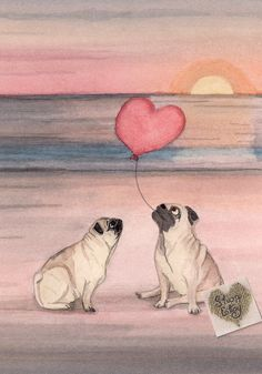 Pair of pugs share romantic beach / Lynch signed folk art print - This is a professional, archival quality print by artist Cindi Lynch. This work for sale is printed - Pugs And Kisses, Pug Art, Pug Pictures, Dog Photos, Romantic Beach, Pug Puppies, Tier Fotos, Pug Life, Pitbull