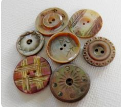 Set of 36 Matching Orange Pie Crust with Luster ca Antique China Buttons 1880