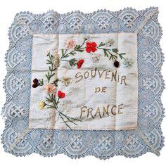 """Wonderful Large French Ribbon Work Hanky  """"Souvenir de France"""""""