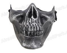 MO3 Cacique Soldiers  Skeleton Half Face Mask Silver Black