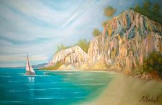 (c) Scarborough Bluffs with a Boat by Marwan Kishek - Oil on canvas 24 Scarborough Bluffs, Oil Paint Brushes, Seascape Paintings, Oil Paintings, Natural Scenery, Oil On Canvas, Ocean, Boat, Clouds