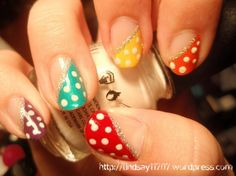 Rainbow nails w/ dots