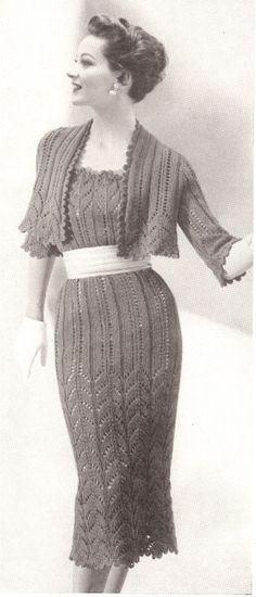 Vintage Knit Lace Bolero Shortie Jacket & Dress Patterns