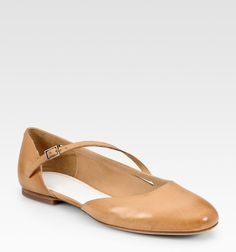Maison Martin Margiela  Leather Asymmetrical-buckle Ballet Flats