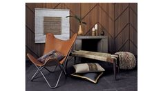 For tipis: CB2 1938 tobacco leather butterfly chair