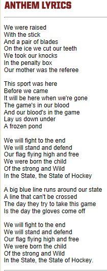 The State of Hockey, MN Wild Anthem Lyrics