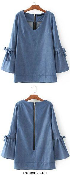 Blue V Neck Tie Detail Zipper Back Denim Blouse