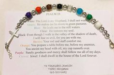 Salvation Bracelet, Beaded Jewelry Designs, Bead Jewelry, Handmade Jewellery, Leather Jewelry, Rod And Staff, Psalm 23, Jewelry Crafts, Bead Crafts