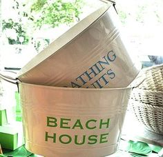 Monogrammed White Tin Buckets - themonogramshops.com