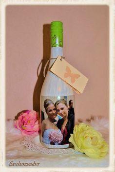 """Freundschaftsgeschenk Fotoflasche """"Freunde"""" von Flaschenzauber auf DaWanda.com"""