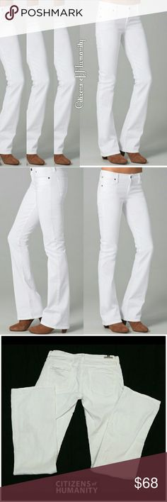 """CITIZENS OF HUMANITY  WHITE KELLY LOW RISE BOOTCUT CITIZENS OF HUMANITY WHITE KELLY LOW RISE BOOTCUT  JEANS  Pre-Loved  /;Style# 1281B-133 Name : """"KELLY"""" SZ 28 98% Cotton 2% Spandex Approx Meas;    *   Waist   15""""    *   Inseam   33 1/2""""    *   Rise   7 1/2"""" Pls See All Pics. Ask ? If Not Sure Citizens of Humanity Jeans Boot Cut"""