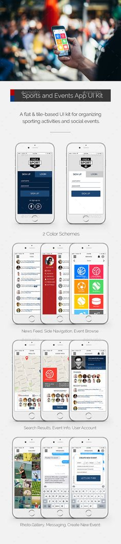 Sports and Events App User Interface Kit Template #design #ui Download: http://graphicriver.net/item/sports-and-events-app-ui-kit/10780716?ref=ksioks