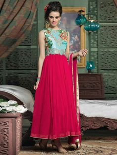 Endow a modern spin to modern style in this pink and blue georgette designer salwar kameez. #Shopnow