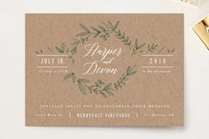 """Floral Wreath"" - Rustic Wedding Invitation Petite Cards in Fresh by Kelly Schmidt."