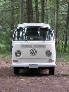VW bus in the woods . Volkswagen Transporter, Transporteur Volkswagen, Vw Bus T2, Transporter T3, Bus Camper, Vw T1, Combi Ww, Vw Minibus, Vw Kombi Van