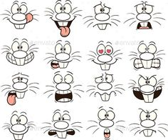 Illustration about Cartoon bunny faces. Each face on a separate layer. Illustration of scared, shocked, frowning - 104181324 Drawing Cartoon Faces, Bunny Drawing, Cartoon Eyes, Doodle Drawings, Art Drawings Sketches, Easy Drawings, Doodle Art, Clipart, Bunny Face