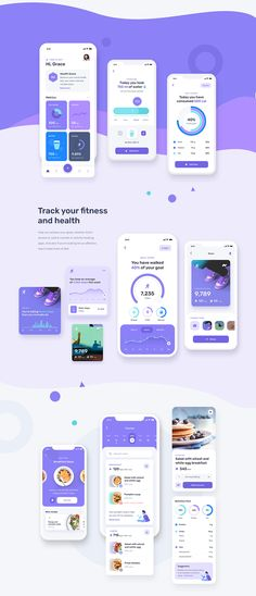 Mobile UI UX for fitness and health app with many features such as step tracking, calorie counter, fitness and workout, meditation, podcast and many more. This template / UI kit is available on Sketch and Figma. Web Design, App Ui Design, Best App Design, Design Layouts, Interface Design, Logo Design, Graphic Design, Health App, Health Fitness
