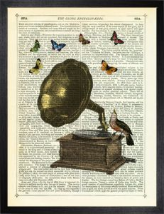 Gramophone, Bird and Butterflies . Marion's prints work well without a mount,  and framed in a natural wood hand stained moulding..