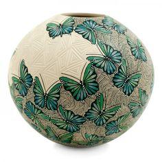 Cindy Perez: Butterflies Olla | Sandia Folk Ceramic Bowls, Ceramic Pottery, Ceramic Pitcher, Pottery Vase, Porcelain Ceramics, Ceramic Clay, Stoneware, Gourd Art, Ceramic Design