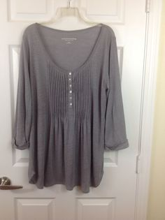 Soft Surroundings Gray Linen Pintuck Pleated Front Top Blouse Tunic Small #SoftSurroundings #KnitTop
