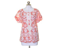 Banana Republic Orange White Batik Appliqued Cotton Tunic Blouse Size S #BananaRepublic #Tunic #Casual