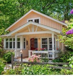 1000 square foot cottage. Fabulous interior. Love this little cottage.