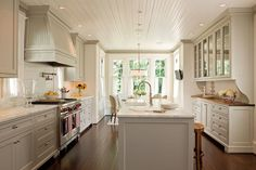 Old House: Amazing light gray kitchen design with glossy white beadboard ceiling, light gray shaker ...
