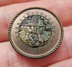 "Gorgeous Antique Carnival GLASS Picture BUTTON in Metal Mill Scene 7/8"" (M10)"